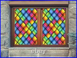 3D Color Weave I577 Window Film Print Sticker Cling Stained Glass UV Block Amy