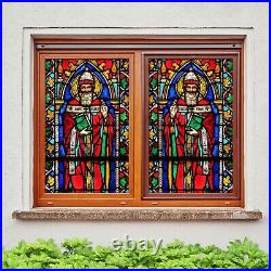 3D Colored Churc I215 Window Film Print Sticker Cling Stained Glass UV Block Ang
