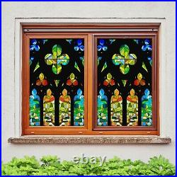 3D Colored Diamo I134 Window Film Print Sticker Cling Stained Glass UV Block Ang