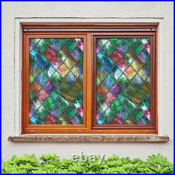 3D Colored Diamo I183 Window Film Print Sticker Cling Stained Glass UV Block Ang