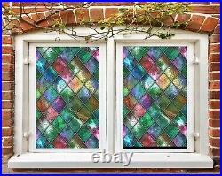 3D Colored Diamond A180 Window Film Print Sticker Cling Stained Glass UV Zoe
