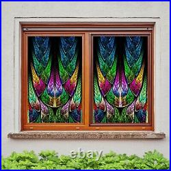 3D Colored Feather B026 Window Film Print Sticker Cling Stained Glass UV Zoe