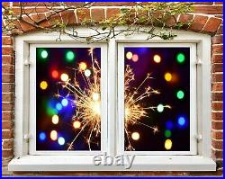 3D Colored Firew I203 Window Film Print Sticker Cling Stained Glass UV Block Ang