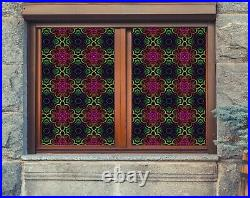 3D Colored Flowe I158 Window Film Print Sticker Cling Stained Glass UV Block Ang