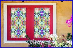 3D Colored Flower A87 Window Film Print Sticker Cling Stained Glass UV Zoe