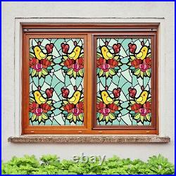 3D Colored Flower I19 Window Film Print Sticker Cling Stained Glass UV Block Ang