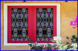 3D Colored Flower I35 Window Film Print Sticker Cling Stained Glass UV Block Ang