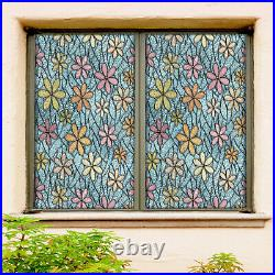 3D Colored Flowers ZHUA595 Window Film Print Sticker Cling Stained Glass UV