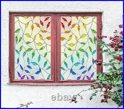 3D Colored Leaves B112 Window Film Print Sticker Cling Stained Glass UV Zoe