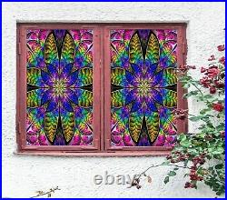 3D Colored Leaves I54 Window Film Print Sticker Cling Stained Glass UV Block Amy