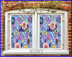 3D Colored Leaves ZHUB795 Window Film Print Sticker Cling Stained Glass UV Block