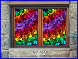 3D Colored Square ZHUA001 Window Film Print Sticker Cling Stained Glass UV Zoe