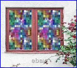 3D Colored Square ZHUA393 Window Film Print Sticker Cling Stained Glass UV