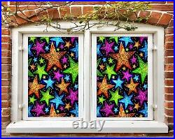 3D Colored Stars A96 Window Film Print Sticker Cling Stained Glass UV Zoe
