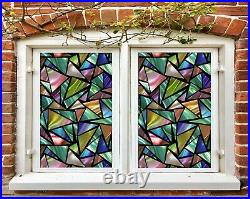 3D Colored Trian I209 Window Film Print Sticker Cling Stained Glass UV Block Ang