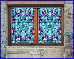 3D Colored Umbrella A49 Window Film Print Sticker Cling Stained Glass UV Zoe
