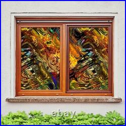 3D Colored Volcan I28 Window Film Print Sticker Cling Stained Glass UV Block Ang