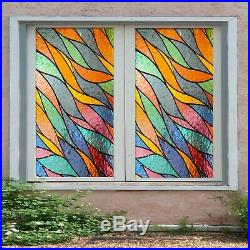 3D Colorful Leaves P16 Window Film Print Sticker Cling Stained Glass UV Block Su