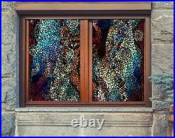 3D Colorful Mosaic P99 Window Film Print Sticker Cling Stained Glass UV Block Su