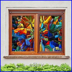 3D Colorful Stones D58 Window Film Print Sticker Cling Stained Glass UV Block An