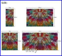 3D Colorful Trian I77 Window Film Print Sticker Cling Stained Glass UV Block Ang