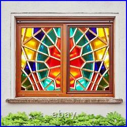 3D Coloured Glass P010 Window Film Print Sticker Cling Stained Glass UV Block Su
