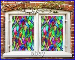 3D Rainbow Color P189 Window Film Print Sticker Cling Stained Glass UV Block Su