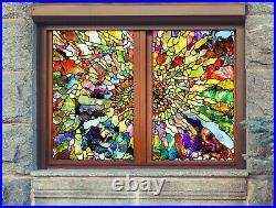 3D Retro Color B549 Window Film Print Sticker Cling Stained Glass UV Block Amy