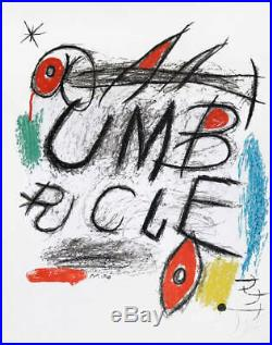 Joan Miro Hand Signed Print Color Lithograph Poster for the film Umbracle 1973