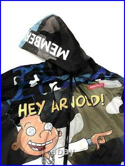 Mens Members Only X Hey Arnold Nickelodeon Puffer Jacket Coat All Over Print L