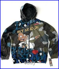 Mens Members Only X Hey Arnold Nickelodeon Puffer Jacket Coat All Over Print XL