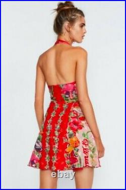 NEW with Tags $526 Silk Red Florida Print Dress Anna Sui Size 2 USA