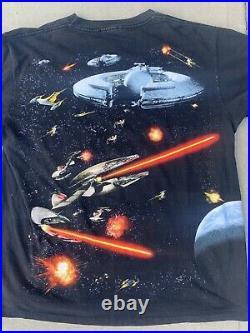 Rare VTG 90s Star Wars Episode 1 Jedi Movie Promo All over Print T Shirt XL