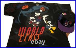Rare Vintage 90s DISNEY Mickey Mouse Daffy Basketball All Over Print Shirt & HAT