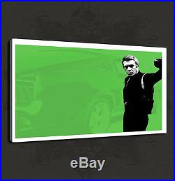 Steve Mcqueen Bullit Iconic Film Canvas Print Many Colours Ready To Hang