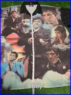 VTG SCARFACE Al Pacino Button Down FULL COLOR Shirt 2XL ALL OVER PRINT RARE