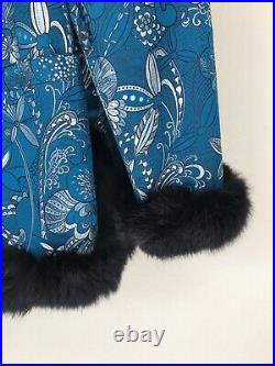 Vintage Reversible Jacket Coat Black Rabbit Fur Teal Blue Asain Floral Print M
