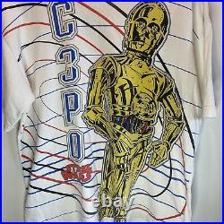 Vintage Star Wars C3PO Big Print Shirt Size L Lucas Films Disney 1997 Rare